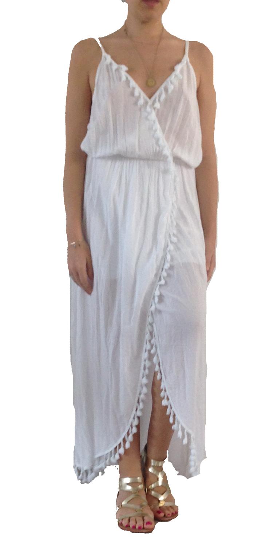 Μάξι Φόρεμα Έθνικ με pon pon - OEM - SS16GAL-0022WHT φορέματα μάξι φορέματα