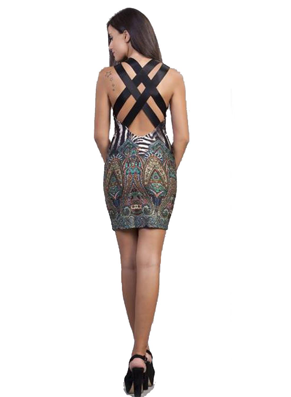 Bodycon Classic Φόρεμα Jungle Prints με χιαστί πλάτη - OEM - A16LV-53140533 φορέματα μίνι φορέματα
