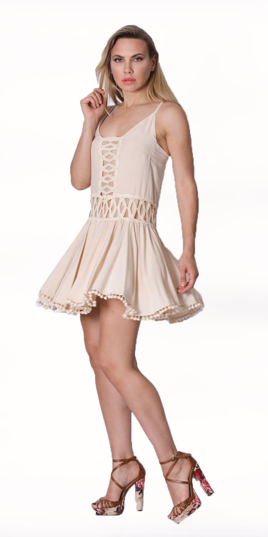 Boho φόρεμα με Δαντέλα και pon pon - OEM - SS16NM-13107N403_bg φορέματα party φορέματα
