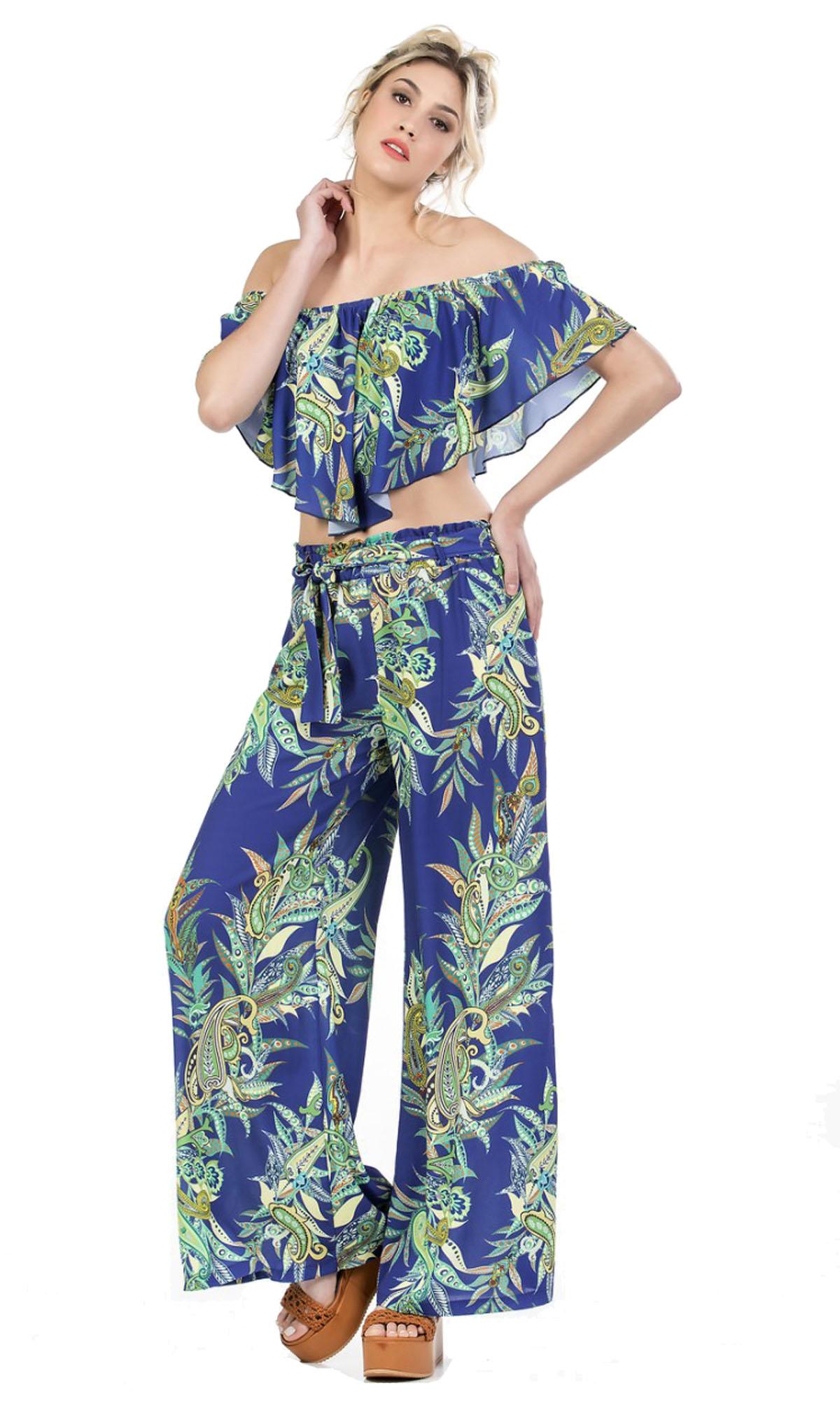 Γυναικείο Σετ Τοπ Online εμπριμέ Ethnic Style & Παντελόνα - ONLINE - SS17ON-5624 prints jungle prints