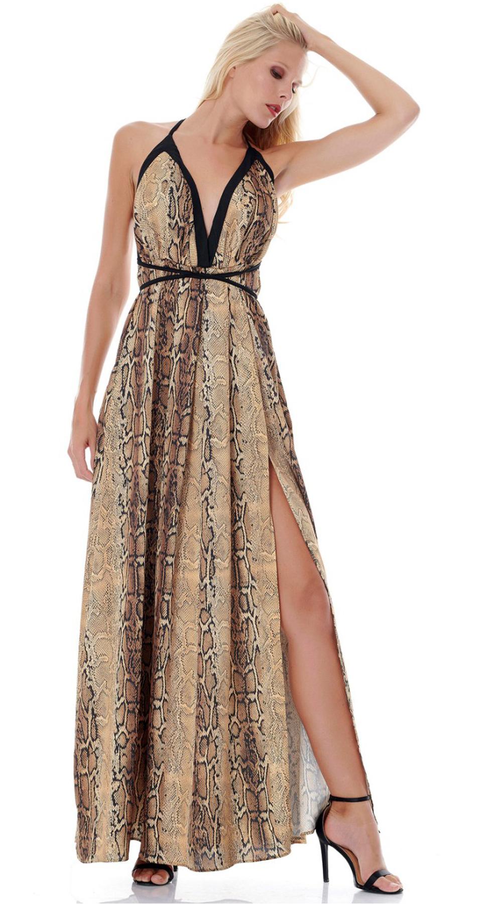 Snake Print Φόρεμα Εξώπλατο ONLINE - ONLINE - SS18ON-50012 φορέματα party φορέματα
