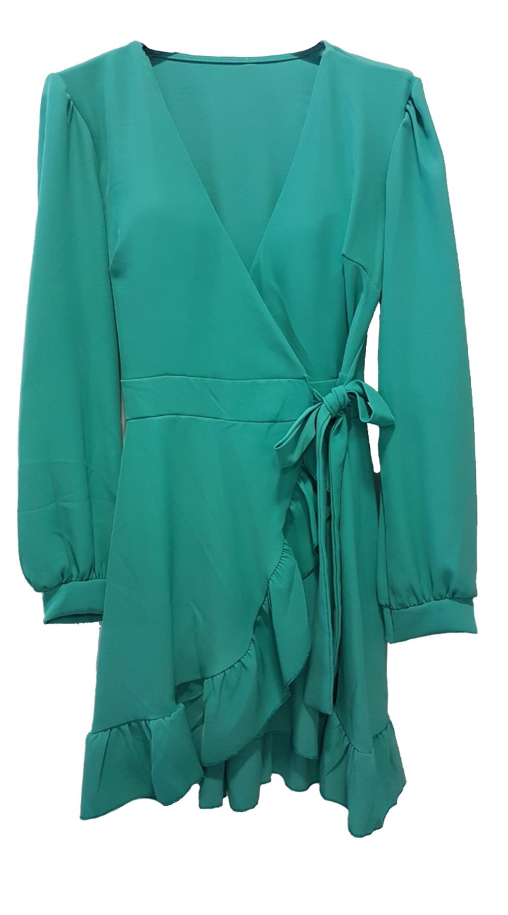 Κρουαζέ Μίνι Φόρεμα με βολάν στο τελείωμα - MissReina - SP19GAL-54470 φορέματα μίνι φορέματα