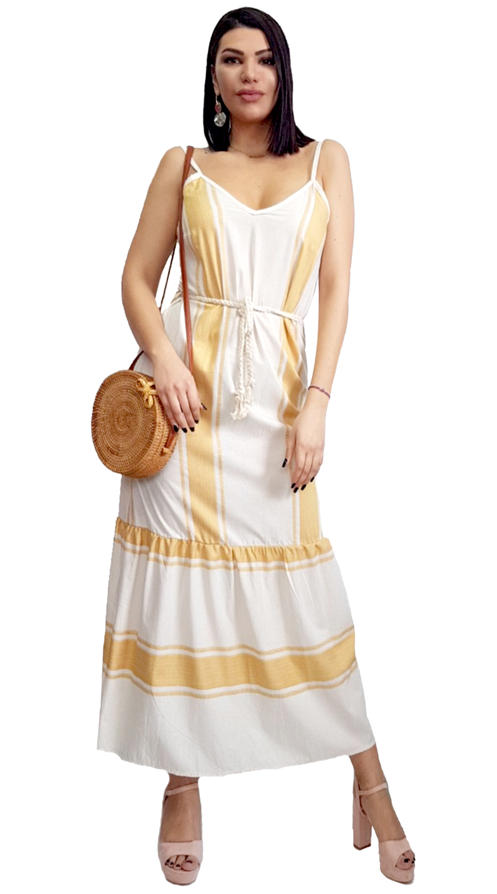 92e1d5b5da2f Boho Ριγέ Maxi Φόρεμα
