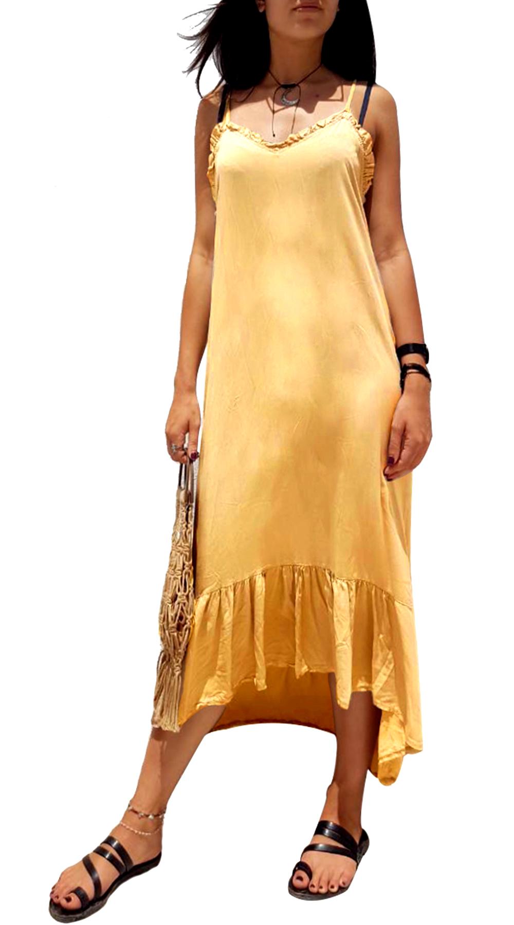Μονόχρωμο Μάξι Φόρεμα με βολάν CLARITY - MissReina - SS19MN-58717