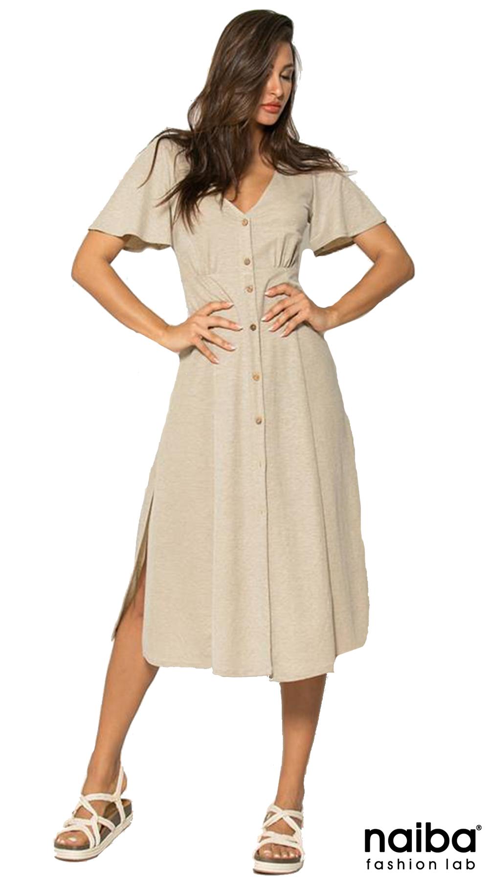 58f9ea888c0f Κοντομάνικο Σεμιζιέ Φόρεμα Visc.με κουμπιά NAIBA