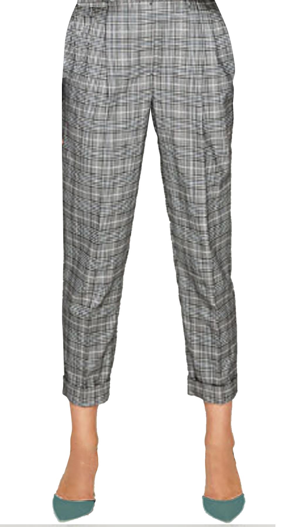 Γυναικείο check cigarette παντελόνι με λάστιχο και τσέπες Online - OEM - FA17ON- top trends office look