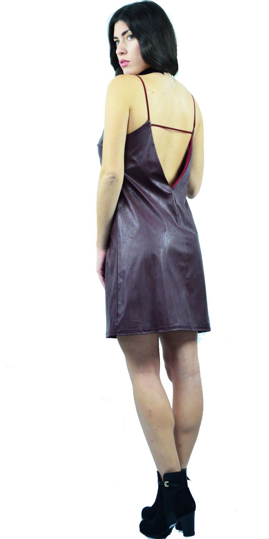 Φόρεμα Leather Like Open Back - MissReina - W17A-52201 φορέματα βραδυνά φορέματα