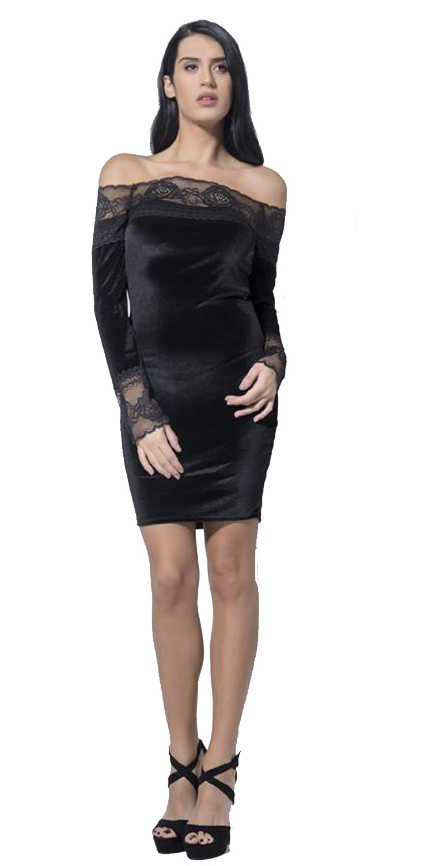 Bελούδινο Bodycon Party Μίνι Φόρεμα με Laced Details - OEM - W17LV-531639 φορέματα βραδυνά φορέματα