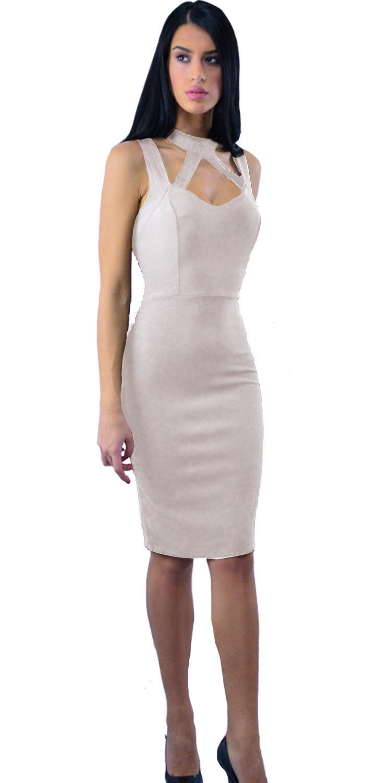 Φόρεμα σε στενή γραμμή με χιαστί μπούστο - LOVE ME - W17LV-501293