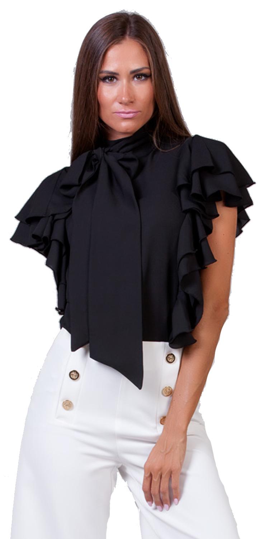 Γυναικεία Μπλούζα με βολάν & φιόγκο Online - OEM - W17ON-16051 top trends glam occassions
