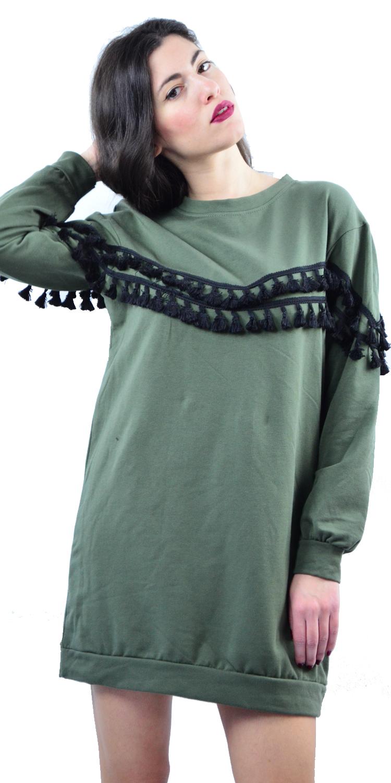 Γυναικείο Μακρυμάνικο Φούτερ - Φόρεμα με Πον Πον - MissReina - W17SOF-10023 top trends monochrome