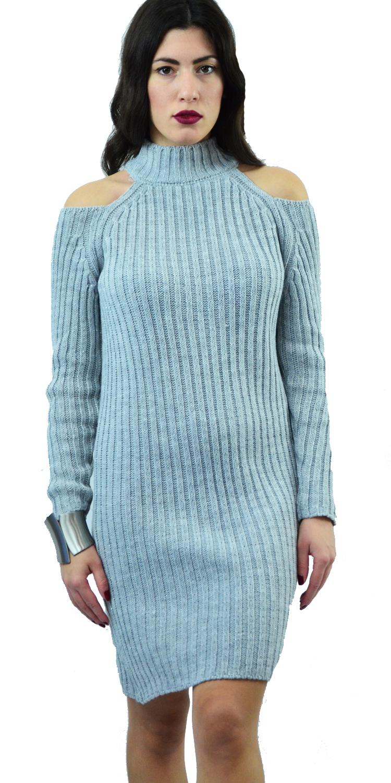 Γυναικείο Πλεκτό Φόρεμα Bodycon με Cut-Out Ώμους - OEM - W17SOF-523032 top trends cut outs