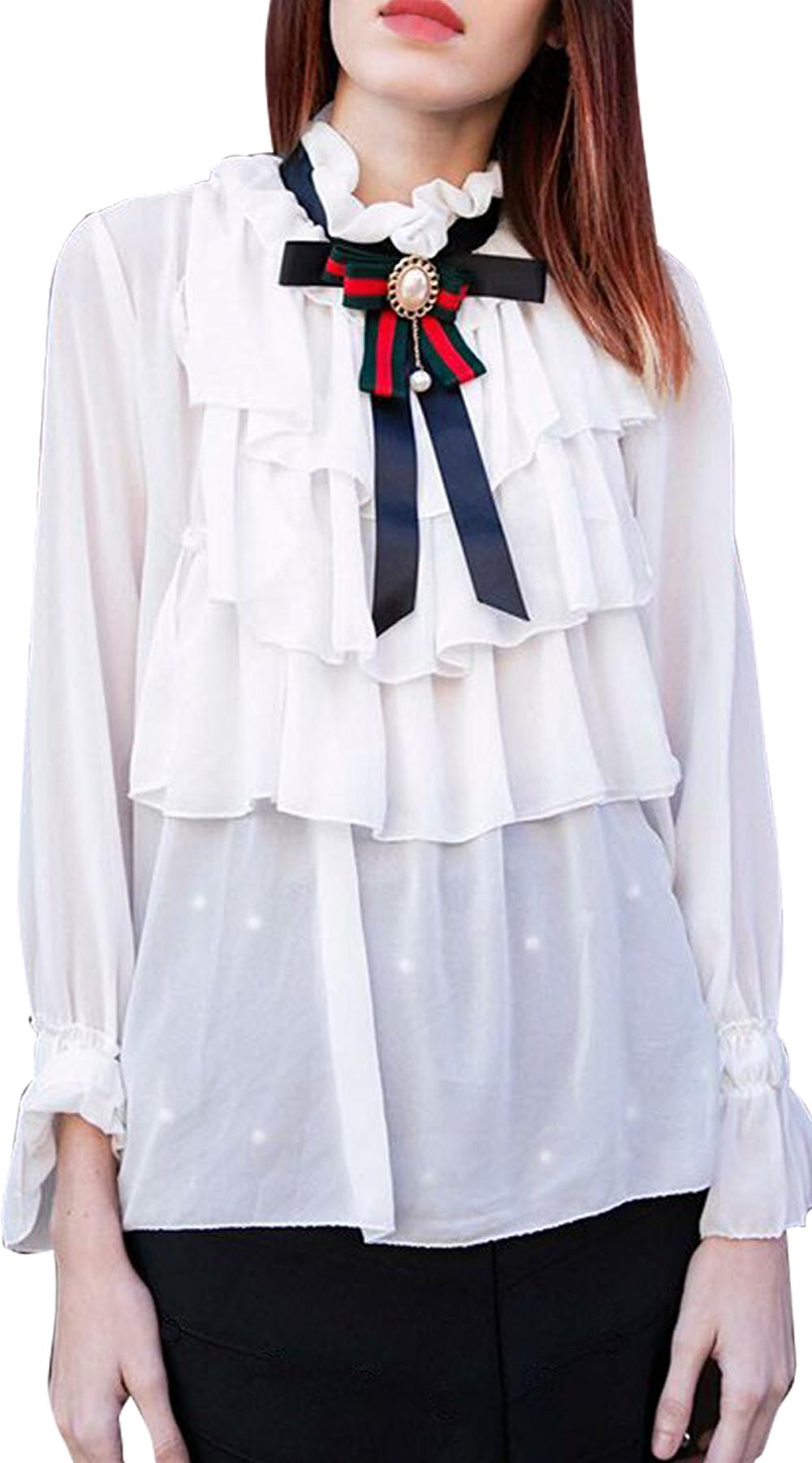 Γυναικείο πουκάμισο office look Vintage Ribbon - OEM - W18JB-1883992 top trends office look