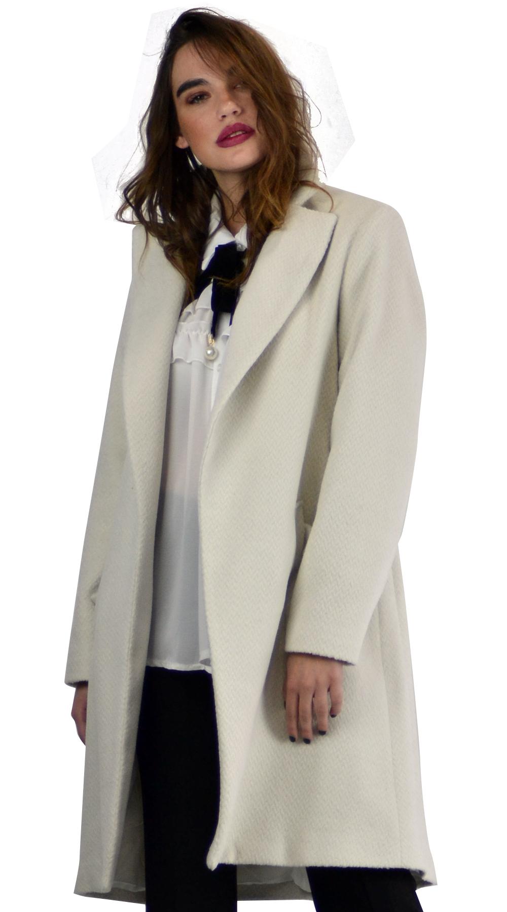 dd6711bac05 Γυναικείο παλτό μάλλινο με ζώνη και τσέπες - LOVE ME - W18LV-43850