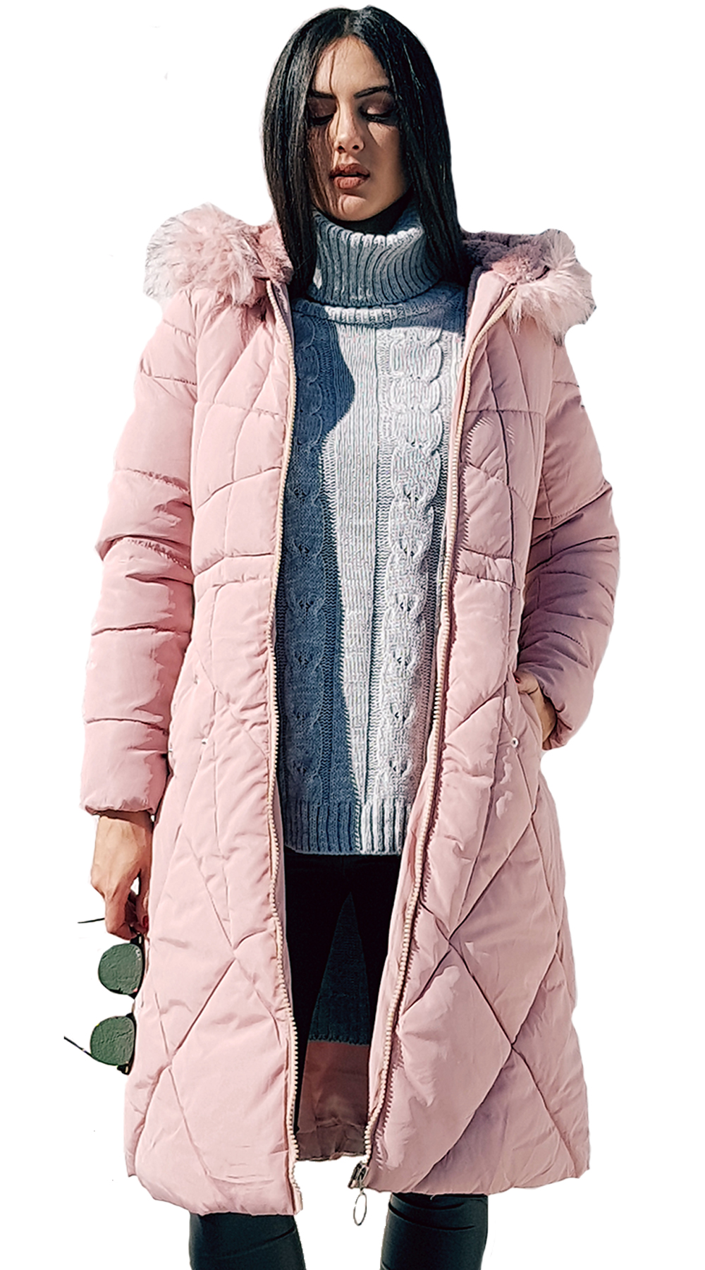 Missreina Ζεστό Καπιτονέ Μακρύ Μπουφάν με τσέπες και κουκούλα - MissReina -  W18MR-46403 3410868185f