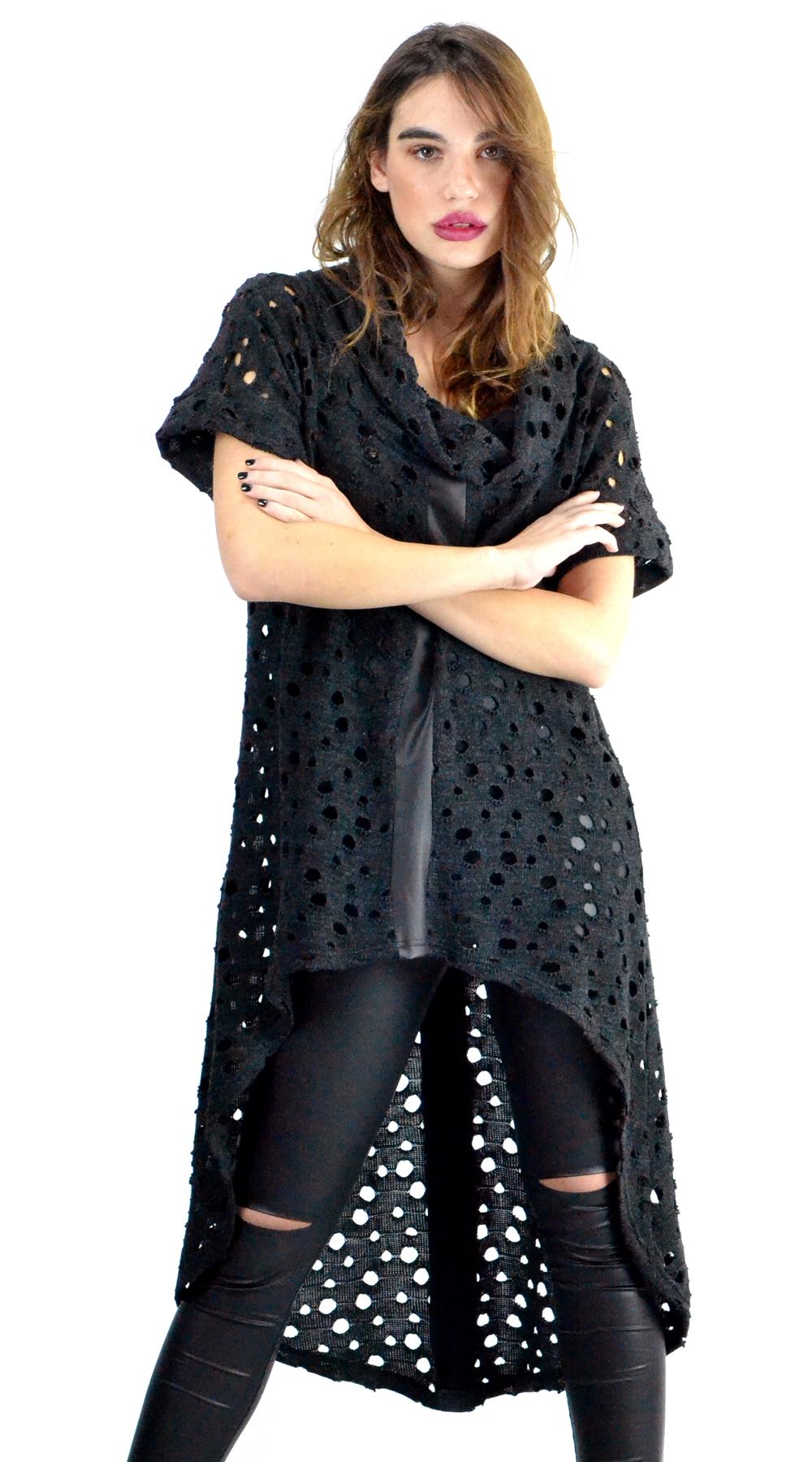 Γυναικείο τρυπητό ασύμμετρο τοπ με χαλαρό ζιβάγκο Online - ONLINE - W18ON-11545 μπλούζες   t shirts elegant tops