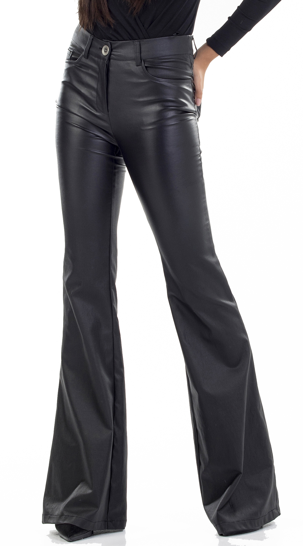 Γυναικείο παντελόνι καμπάνα με δερμάτινη υφή Online - ONLINE - W18ON-39537 ενδύματα κολάν   παντελόνια