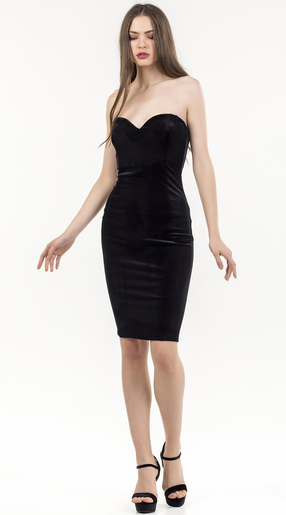 Μίντι στράπλες φόρεμα βελούδινο Online ONLINE W18ON 52524 cb736474c19