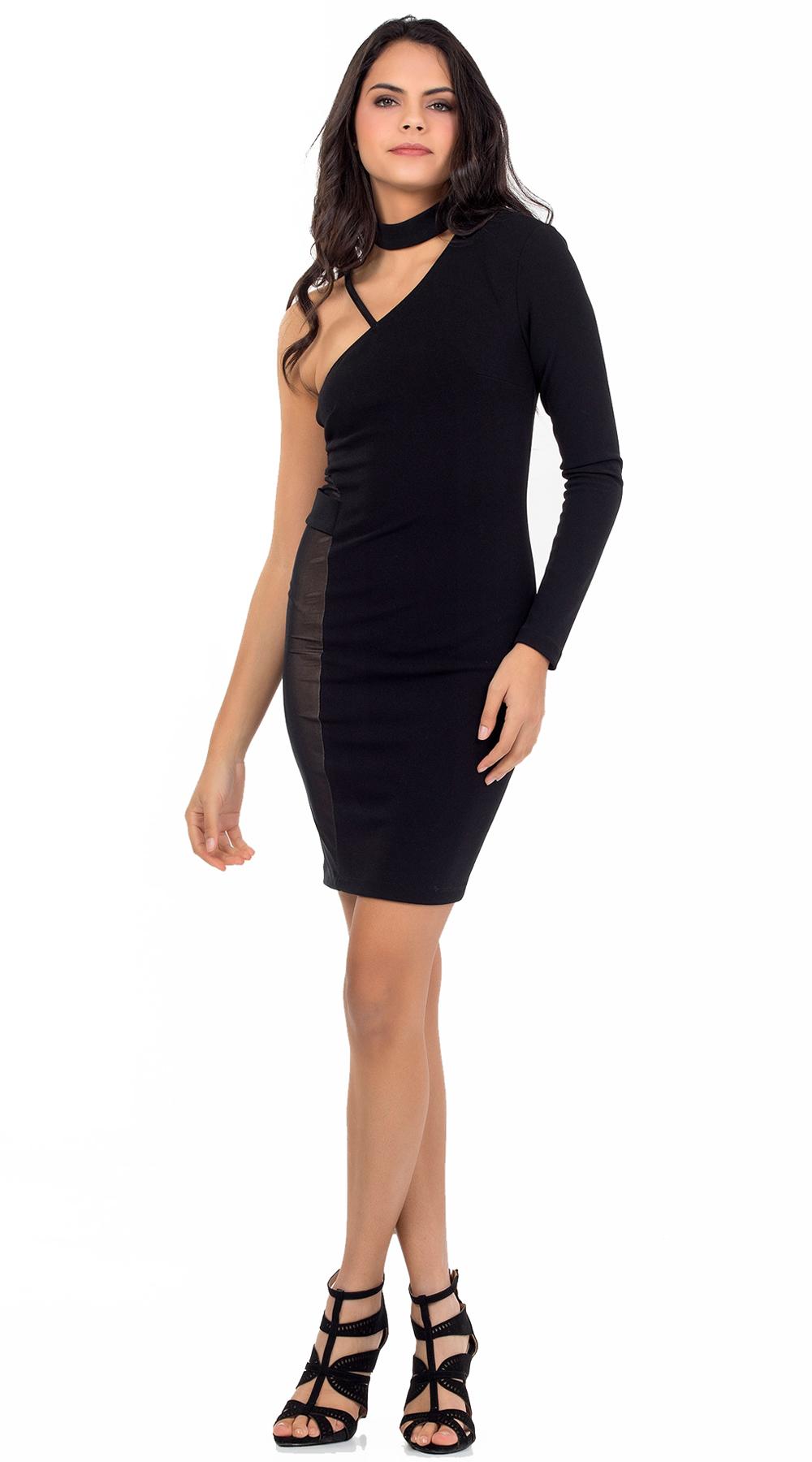 Φόρεμα bodycon με ένα μανίκι και τούλινο cut out Online - ONLINE - W18ON-54176 φορέματα βραδυνά φορέματα