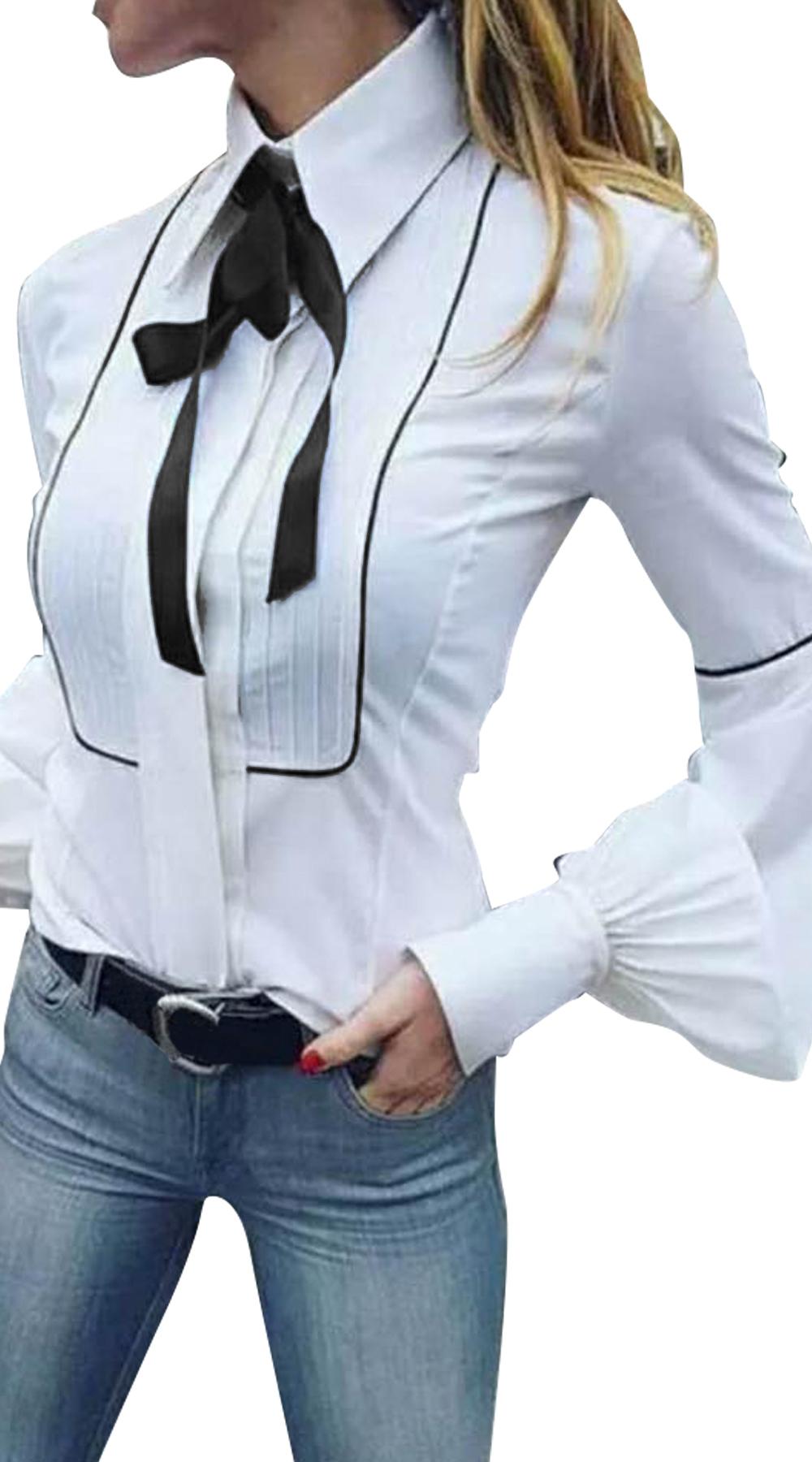 Γυναικείο πουκάμισο με μεγάλα μανίκια Navy Chic (αποστολές από 20/1) - OEM - W18 top trends office look