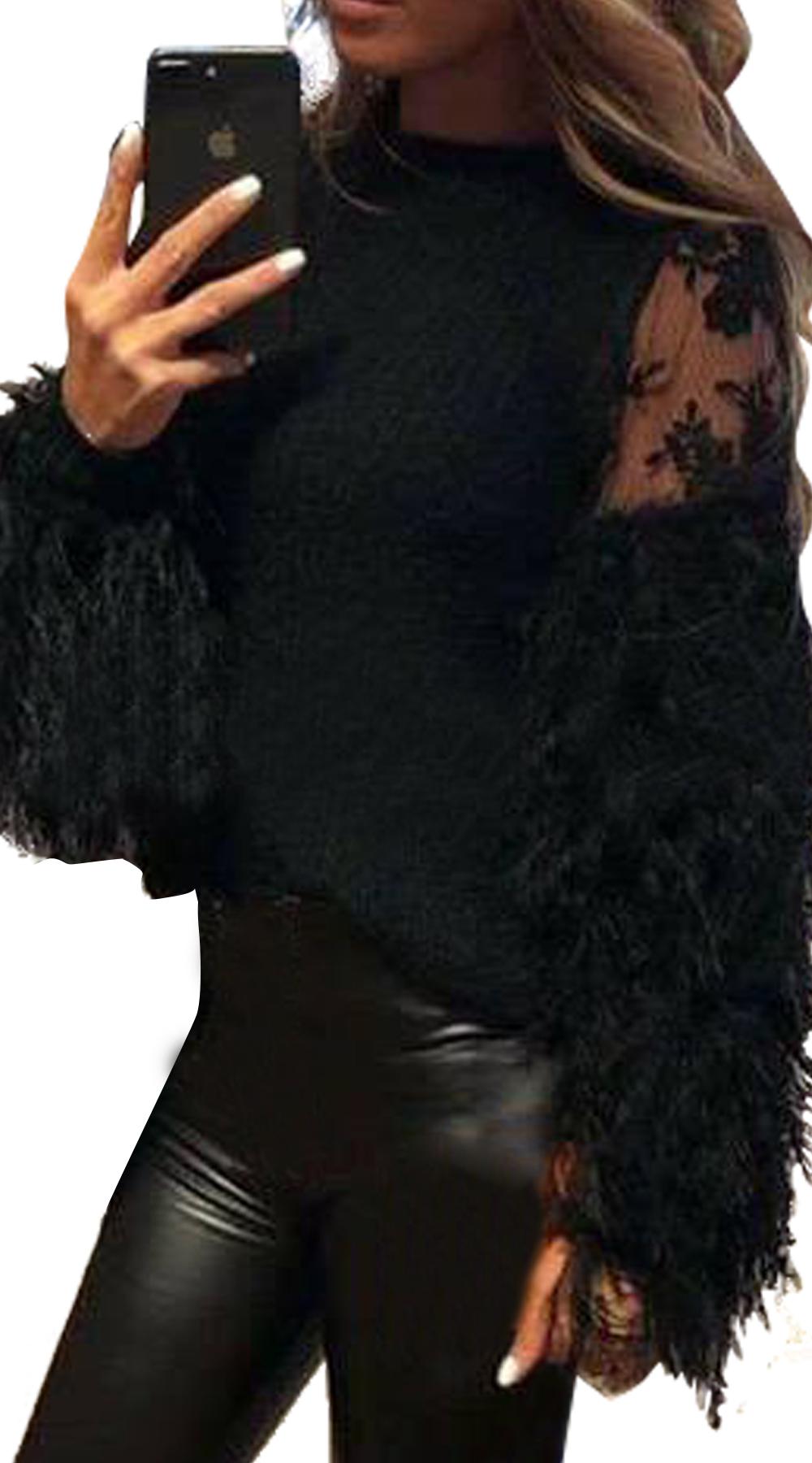Γυναικεία μπλούζα με cut out δαντέλα και χνουδωτά μανίκια(ΑΠΟΣΤΟΛΕΣ ΑΠΟ 5/12) -  μπλούζες   t shirts elegant tops