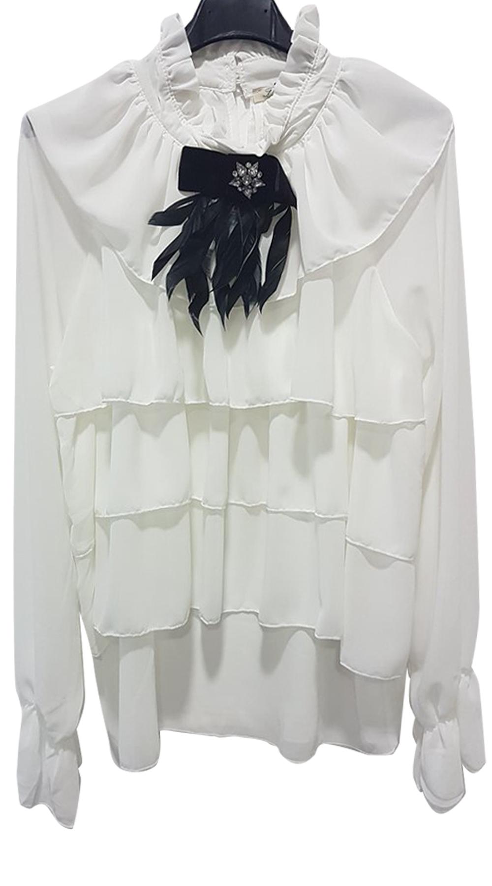 Γυναικείο πουκάμισο με βολάν Feather Chic - OEM - W18SOF-1717361546438 top trends office look