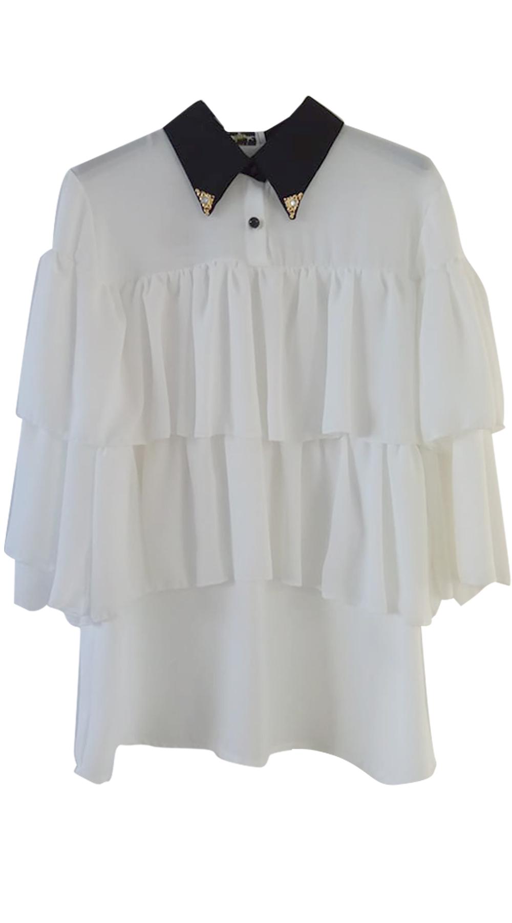Γυναικείο πουκάμισο με βολάν και μαύρο γιακά με χρυσή λεπτομέρεια - OEM - W18SOF top trends office look