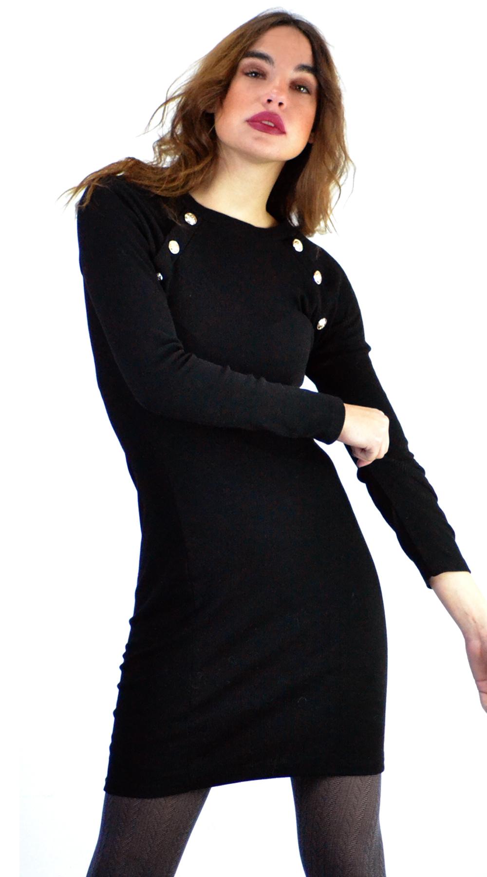 Μίνι φόρεμα ελαστικό rip με διακοσμητικά κουμπιά - OEM - W18SOF-510397773 φορέματα μίνι φορέματα