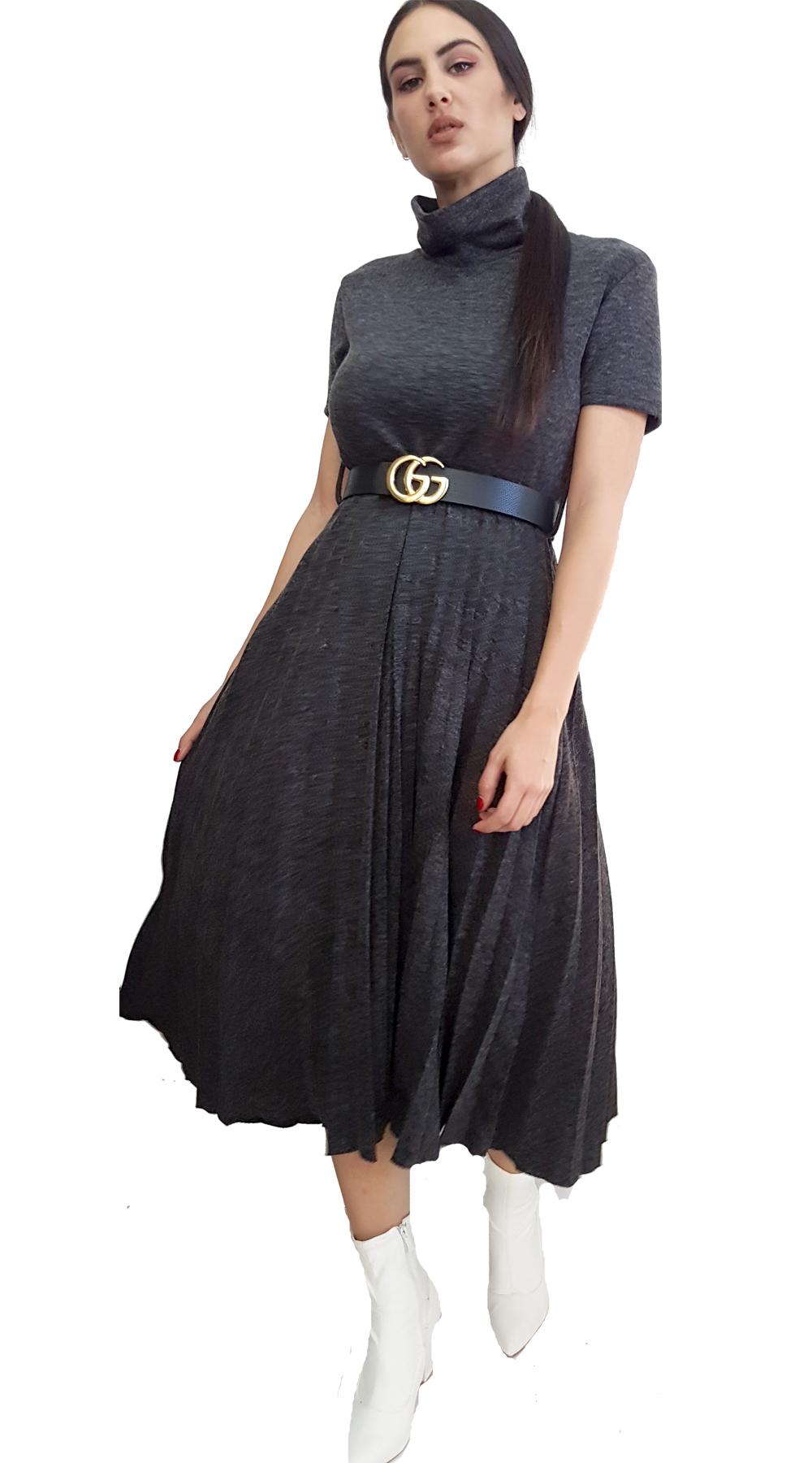 2d12741aa424 Μοχέρ Πλεκτό Πλισέ Μίντι Φόρεμα με Ζώνη
