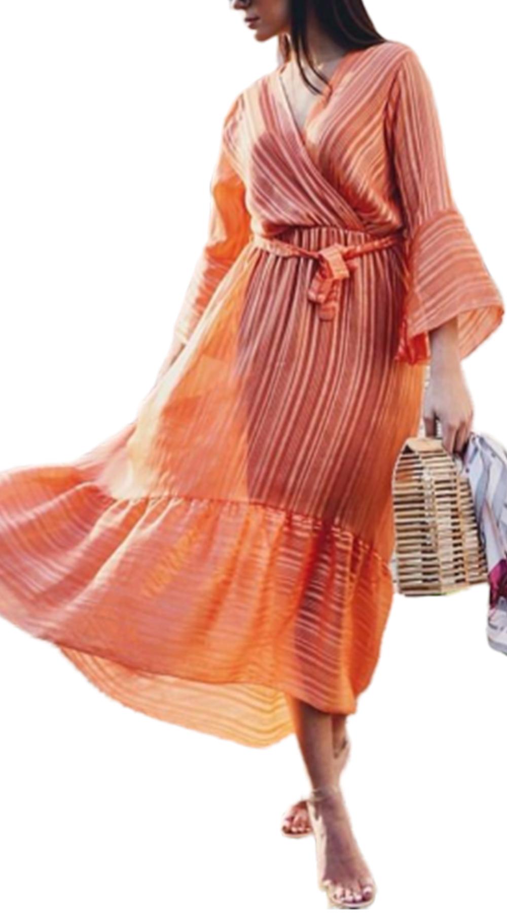 Σατινέ Ασύμμετρο Λούρεξ Κρουαζέ Φόρεμα με Ζώνη - MissReina - W18SOF-58974