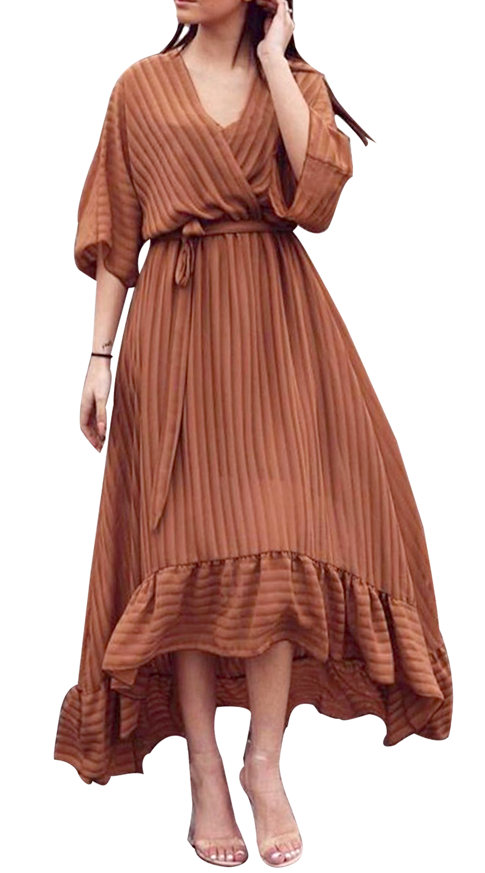 Σατινέ Ασύμμετρο Λούρεξ Κρουαζέ Φόρεμα με Ζώνη - MissReina - W18SOF-58974 φορέματα so girly