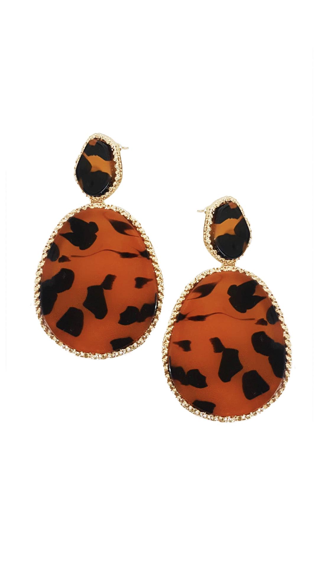 Σκουλαρίκια με Πέτρα και Χρυσή Λεπτομέρεια - MissReina - W20AC-637914