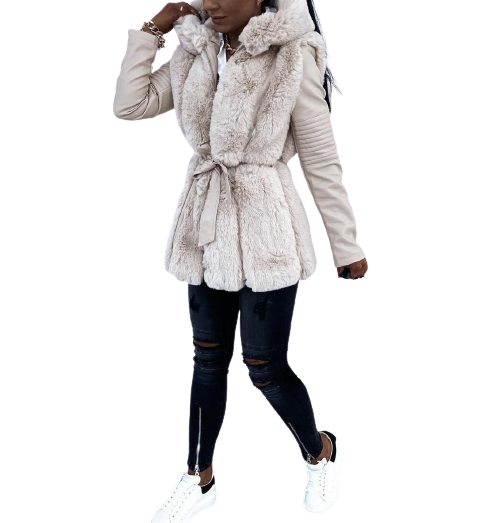 LeatherLook Jacket με γούνα - MissReina - W21MR-43565
