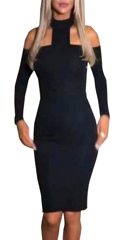 Midi φόρεμα με cut outs στους ώμους και χαμηλό ζιβάγκο - OEM - W17SOF-58746 φορέματα party φορέματα