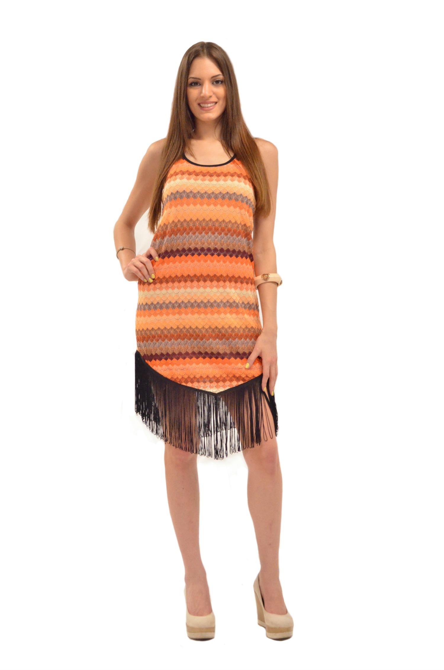 Πορτοκαλί φόρεμα με κρόσια - OEM - SS15-ORNGCLF ενδύματα φορέματα