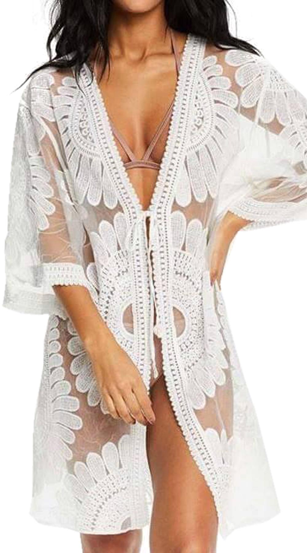 Γυναικείο έθνικ καφτάνι με διαφάνεια - OEM - S17SOF-85699 top trends boho style