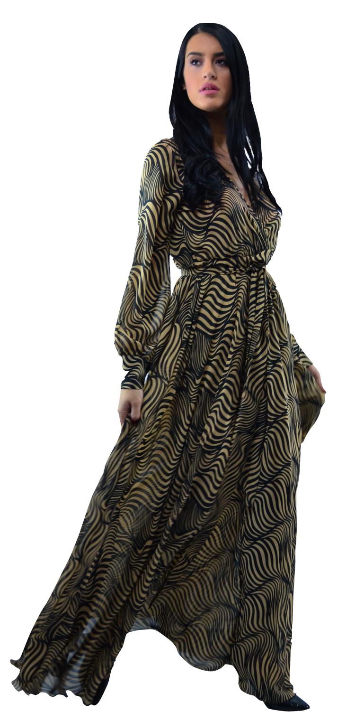 Μάξι εμπριμέ αέρινο φόρεμα - OEM - W17SOF-565449 φορέματα μάξι φορέματα