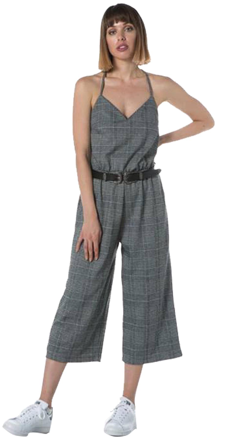 Γυναικεία καρό ολόσωμη φόρμα ζιπ κιλότ (ΔΙΑΘΕΣΙΜΟ ΓΙΑ ΠΡΟΠΑΡΑΓΓΕΛΙΕΣ) - OEM - FA top trends casual chic