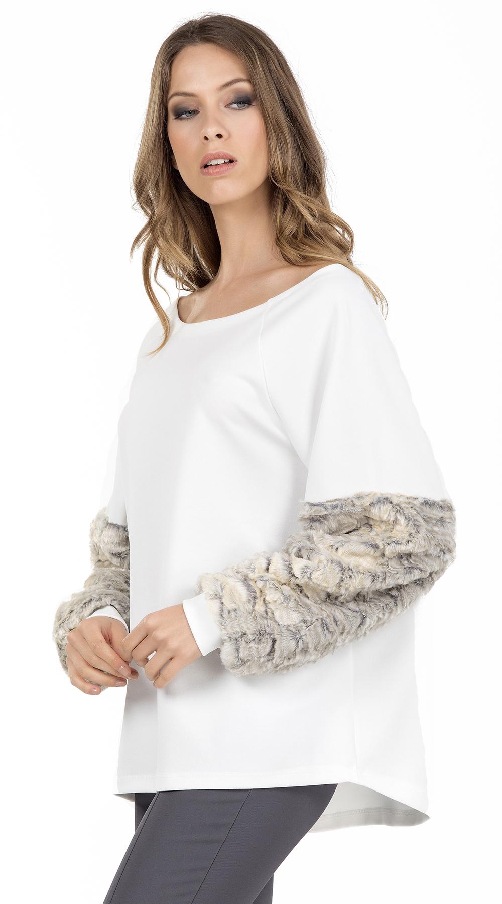 Γυναικεία μπλούζα με γούνα στα μανίκια Online - ONLINE - FA17ON-14143 μπλούζες   t shirts elegant tops