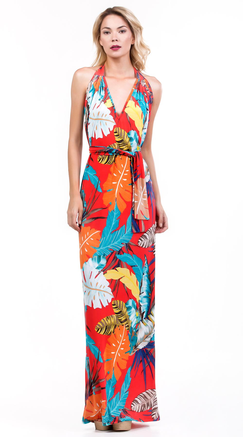 3fd489368a43 Μάξι εξώπλατο φόρεμα με πολύχρωμα τροπικά prints Online - ONLINE - S17ON -1713082
