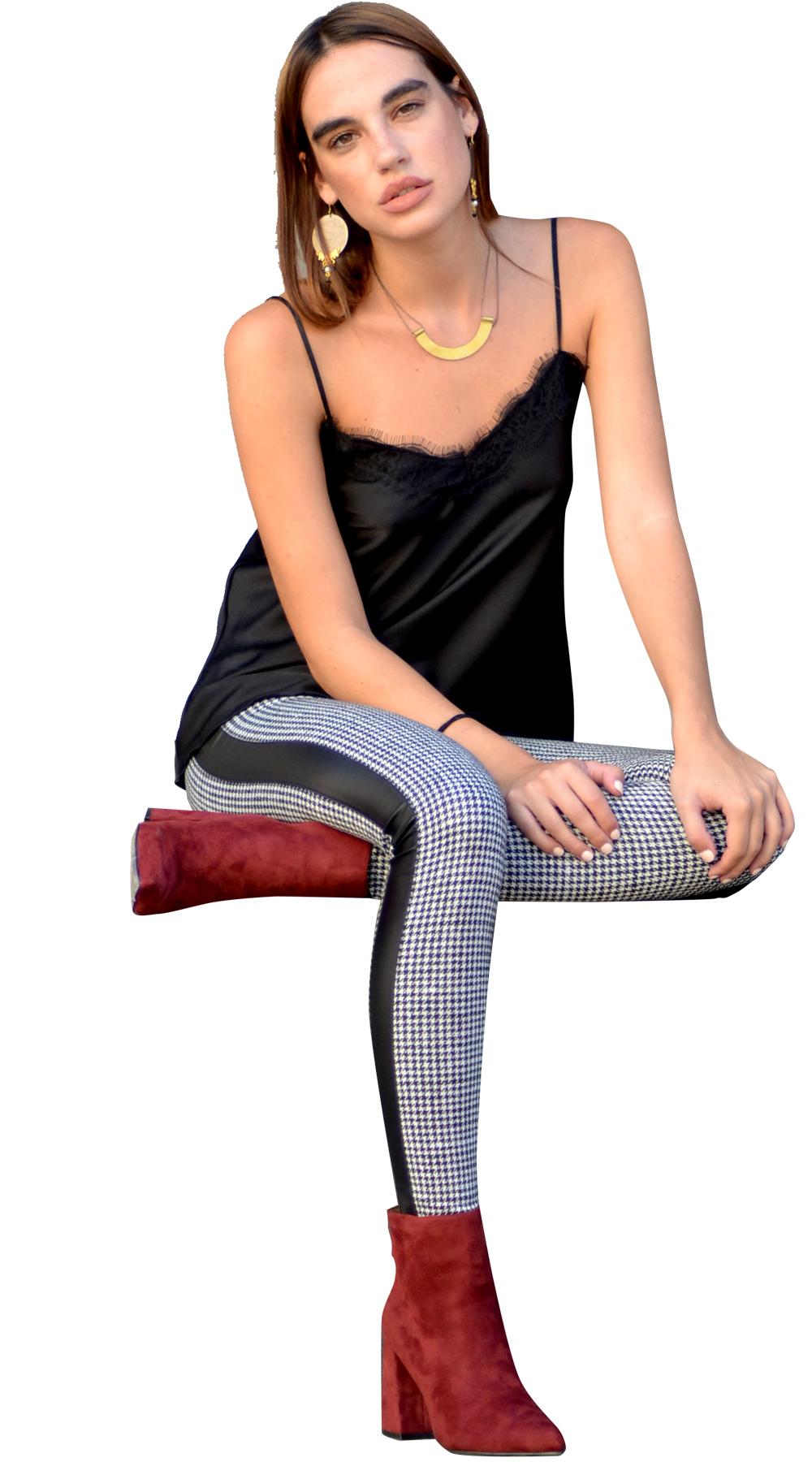 Γυναικείο κολάν καρό με δερμάτινη ρίγα - ONLINE - FA17ON-37503 top trends prints