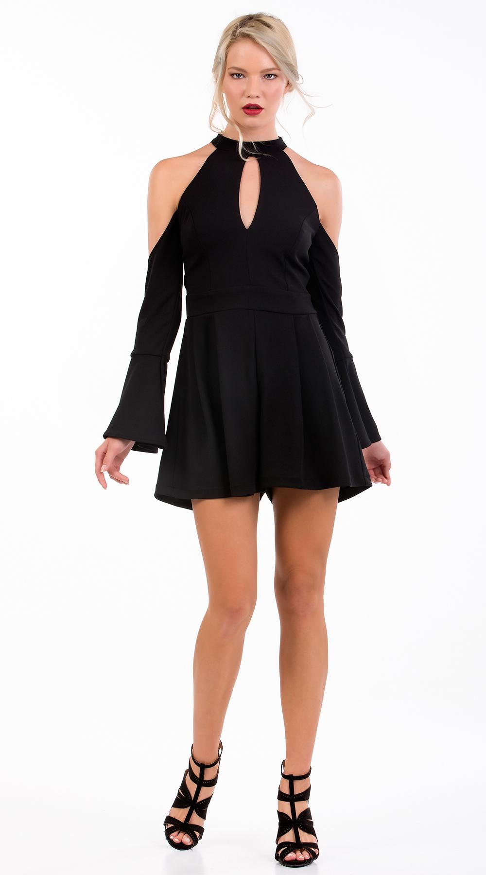 Γυναικείο jumpsuit με καμπάνα μανίκια και cut out ώμους Οnline - ONLINE - FA17ON ενδύματα ολόσωμες φόρμες