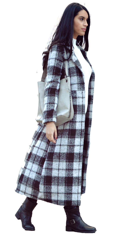 Γυναικείο Μάλλινο Μακρύ Παλτό με Kαρό Prints - MissReina - W17SOF-4031212 πανωφόρια παλτό