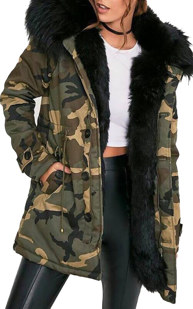 Παρκά στρατιωτικό μπουφάν με επένδυση γούνα στην κουκούλα και το ... 4a2ffdf0112