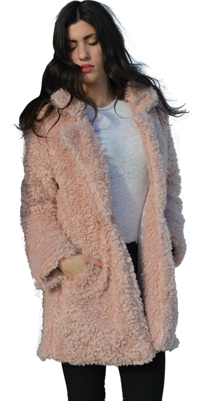 Μπουκλέ γούνινο παλτό με τσέπες - MissReina - W17-595847 πανωφόρια παλτό