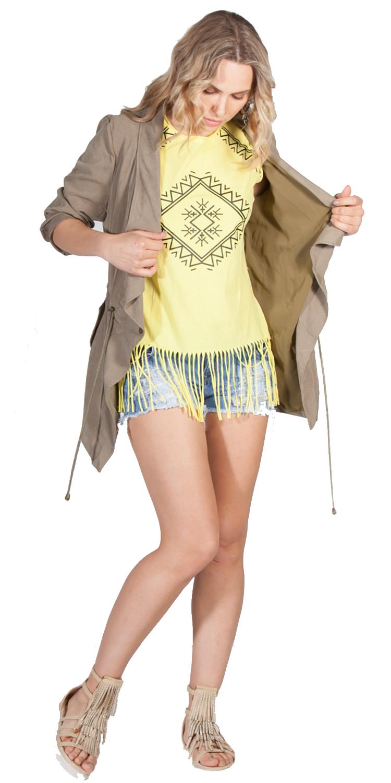 Αμάνικο geo prints τοπ με κρόσια - OEM - S16EA-Y1526 ενδύματα μπλούζες   t shirts