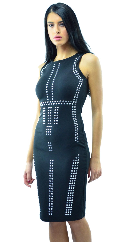 Μαύρο αμάνικο φόρεμα σε στενή γραμμή με διακοοσμητικά τρουκς - OEM - W17SOF-5654 φορέματα βραδυνά φορέματα